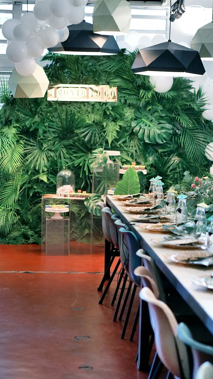 Party tables from a Tropical Jungle Baby Shower on Kara's Party Ideas | KarasPartyIdeas.com (7)