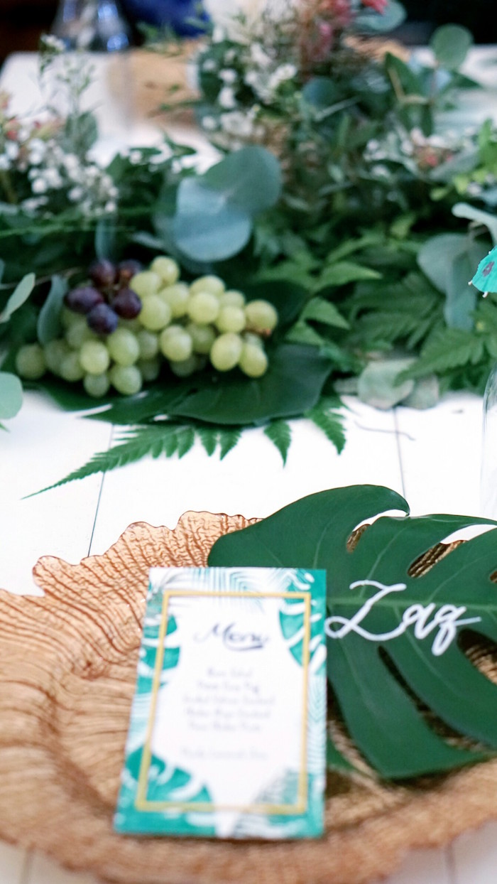 Table setting from a Tropical Jungle Baby Shower on Kara's Party Ideas | KarasPartyIdeas.com (6)