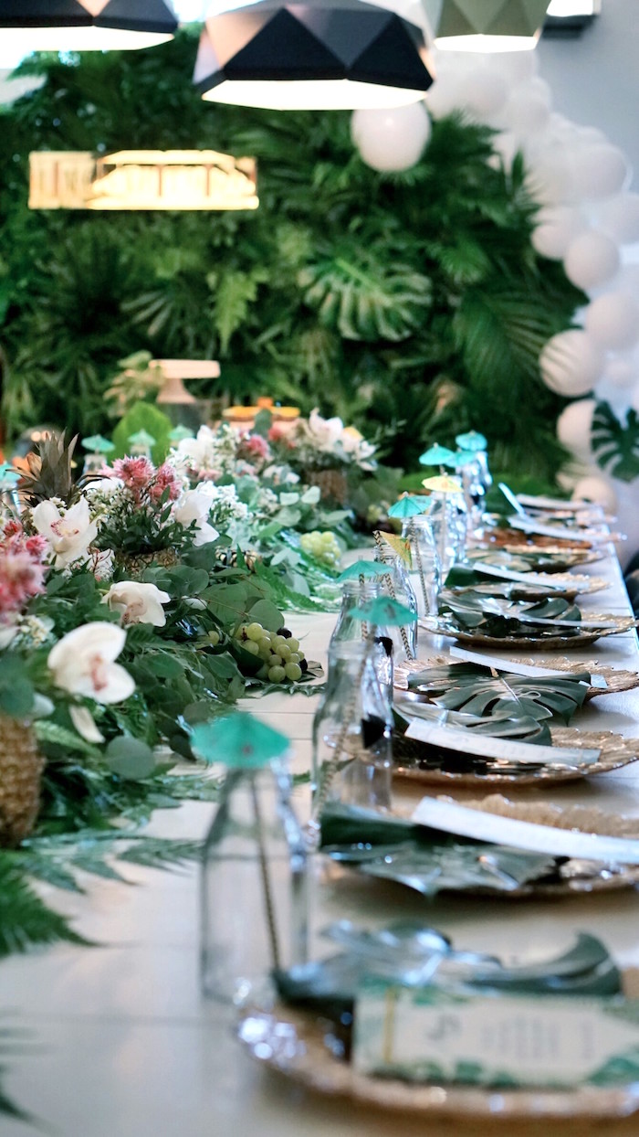 Guest tablescape from a Tropical Jungle Baby Shower on Kara's Party Ideas | KarasPartyIdeas.com (5)