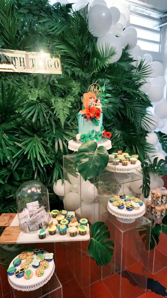 Dessert table from a Tropical Jungle Baby Shower on Kara's Party Ideas | KarasPartyIdeas.com (18)