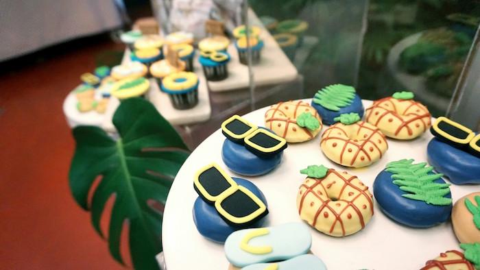 Tropical doughnuts from a Tropical Jungle Baby Shower on Kara's Party Ideas | KarasPartyIdeas.com (17)