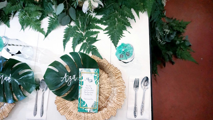 Table setting from a Tropical Jungle Baby Shower on Kara's Party Ideas | KarasPartyIdeas.com (13)
