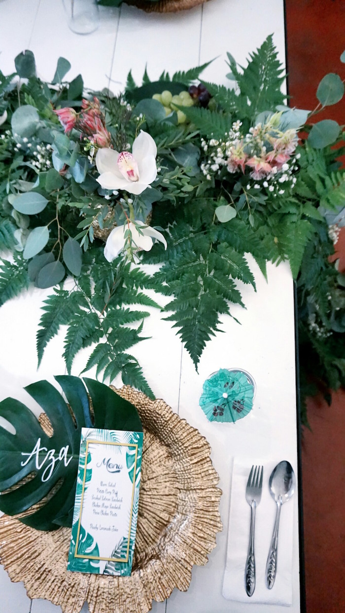 Table setting from a Tropical Jungle Baby Shower on Kara's Party Ideas | KarasPartyIdeas.com (12)