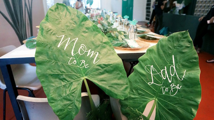 Tropical leaf chair back signs from a Tropical Jungle Baby Shower on Kara's Party Ideas | KarasPartyIdeas.com (11)