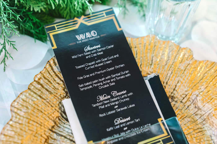 Menu card from a 1920's Gangster Inspired Birthday Party on Kara's Party Ideas | KarasPartyIdeas.com (2)