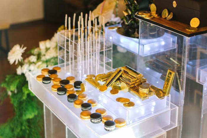 Mobster gold + desserts from a 1920's Gangster Inspired Birthday Party on Kara's Party Ideas | KarasPartyIdeas.com (10)
