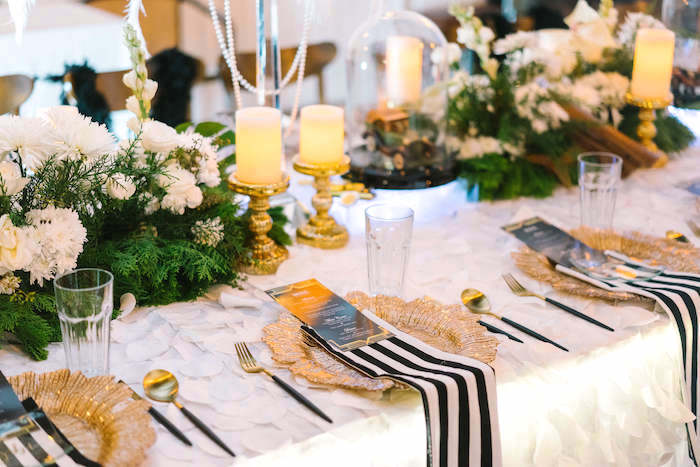 Guest tablescape + place setings from a 1920's Gangster Inspired Birthday Party on Kara's Party Ideas | KarasPartyIdeas.com (7)