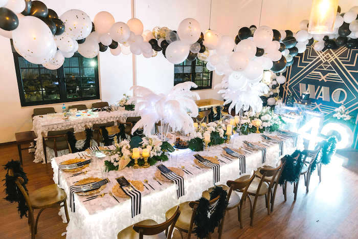 Guest tables from a 1920's Gangster Inspired Birthday Party on Kara's Party Ideas | KarasPartyIdeas.com (5)