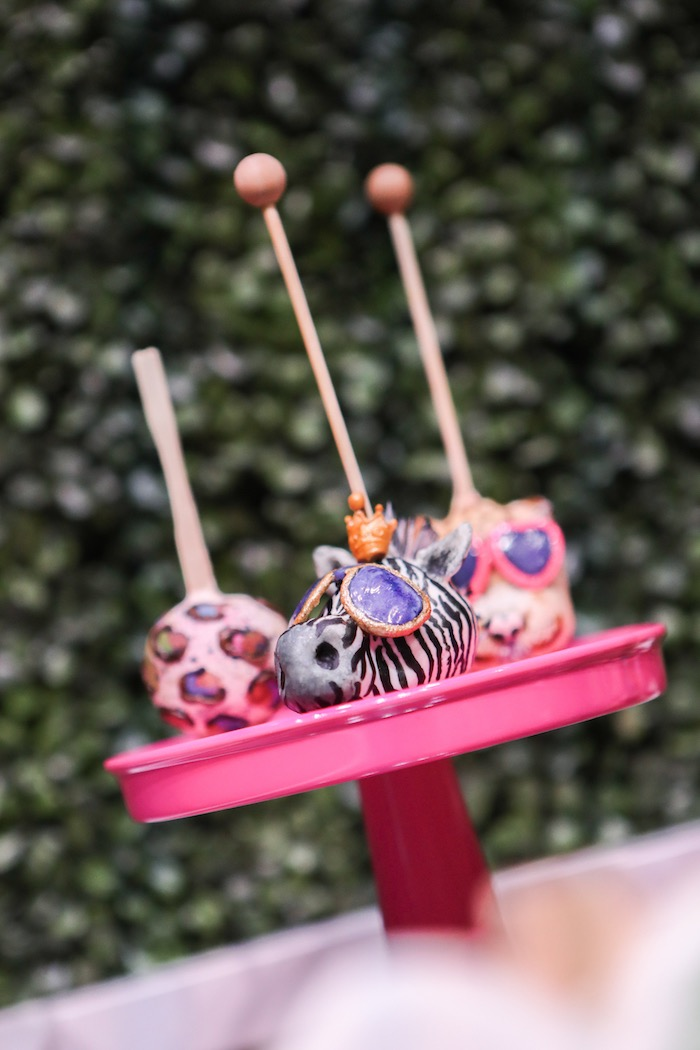 "Animal cake pops from a ""Young, Wild & Three"" Animal Birthday Party on Kara's Party Ideas 