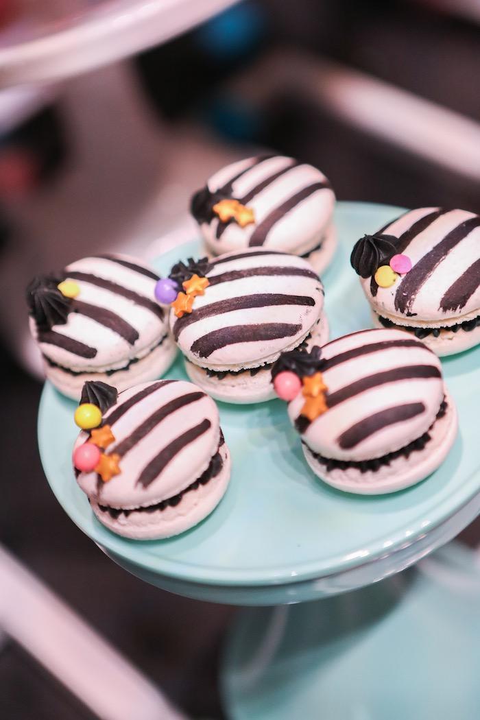 "Zebra macarons from a ""Young, Wild & Three"" Animal Birthday Party on Kara's Party Ideas   KarasPartyIdeas.com (24)"