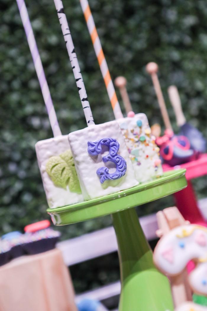 "Crispy treats from a ""Young, Wild & Three"" Animal Birthday Party on Kara's Party Ideas | KarasPartyIdeas.com (23)"