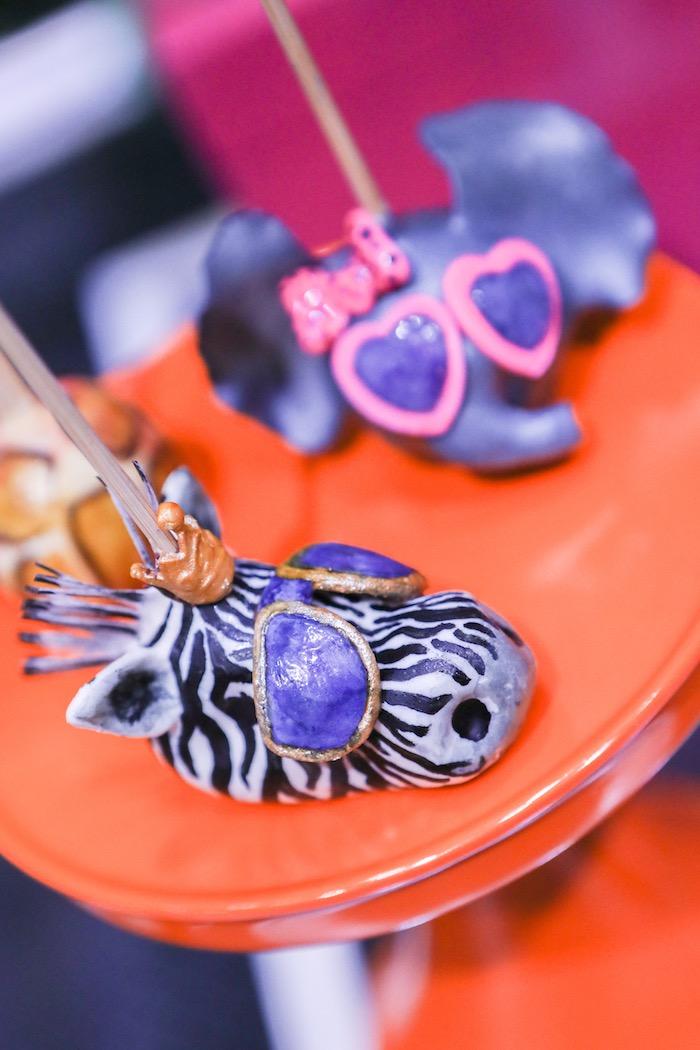 "Zebra + animal cake pops from a ""Young, Wild & Three"" Animal Birthday Party on Kara's Party Ideas | KarasPartyIdeas.com (20)"