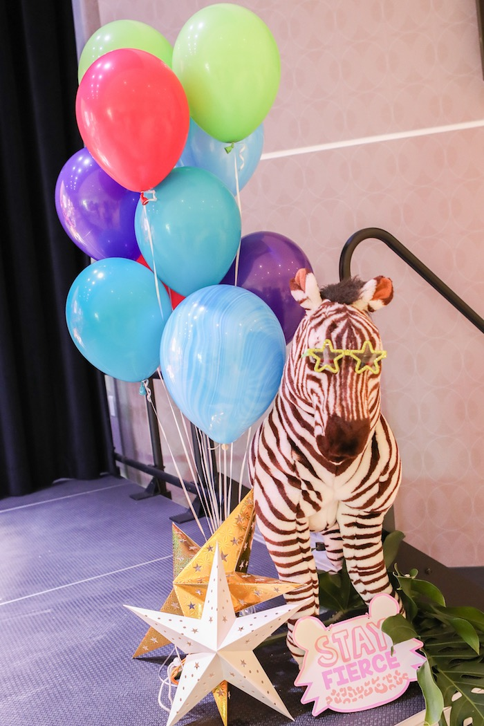 "Zebra + balloon installation from a ""Young, Wild & Three"" Animal Birthday Party on Kara's Party Ideas 
