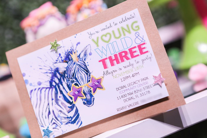 "Invitation from a ""Young, Wild & Three"" Animal Birthday Party on Kara's Party Ideas | KarasPartyIdeas.com (17)"