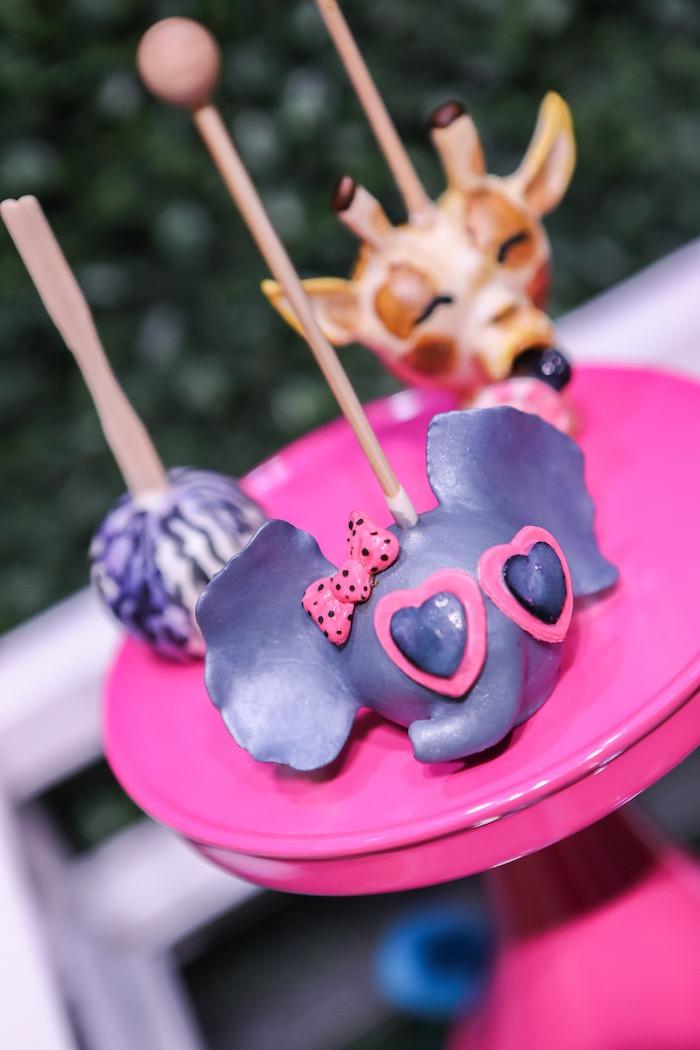"Elephant + animal cake pops from a ""Young, Wild & Three"" Animal Birthday Party on Kara's Party Ideas   KarasPartyIdeas.com (15)"
