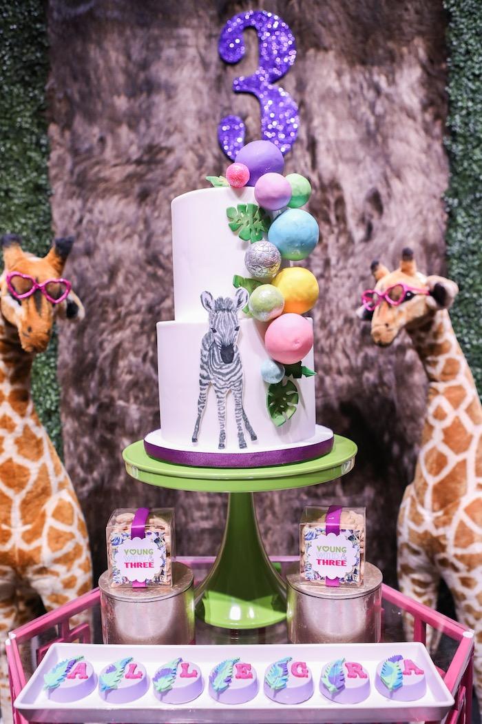 "Zebra cake from a ""Young, Wild & Three"" Animal Birthday Party on Kara's Party Ideas   KarasPartyIdeas.com (14)"