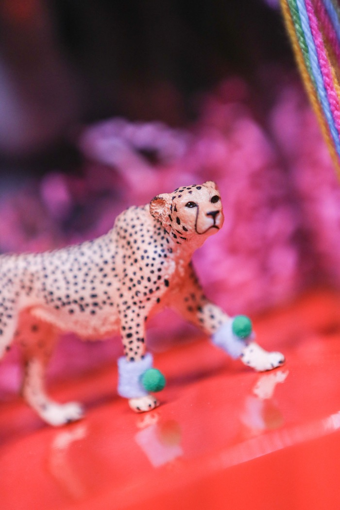 "Cheetah figurine from a ""Young, Wild & Three"" Animal Birthday Party on Kara's Party Ideas 