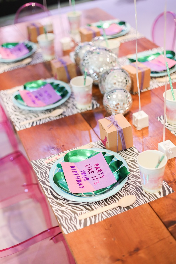 "Guest tablescape from a ""Young, Wild & Three"" Animal Birthday Party on Kara's Party Ideas 
