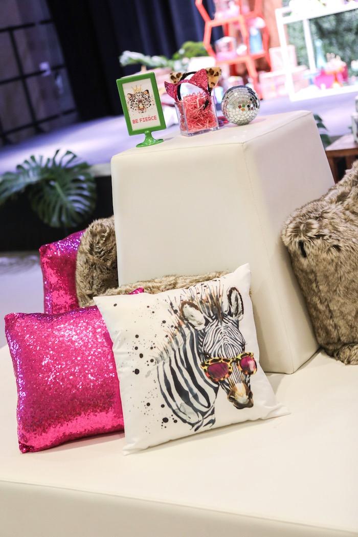 "Wild animal lounge from a ""Young, Wild & Three"" Animal Birthday Party on Kara's Party Ideas | KarasPartyIdeas.com (9)"