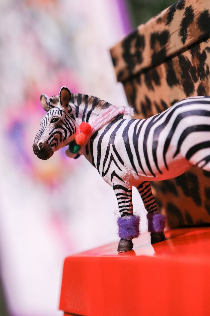 "Zebra figurine from a ""Young, Wild & Three"" Animal Birthday Party on Kara's Party Ideas 