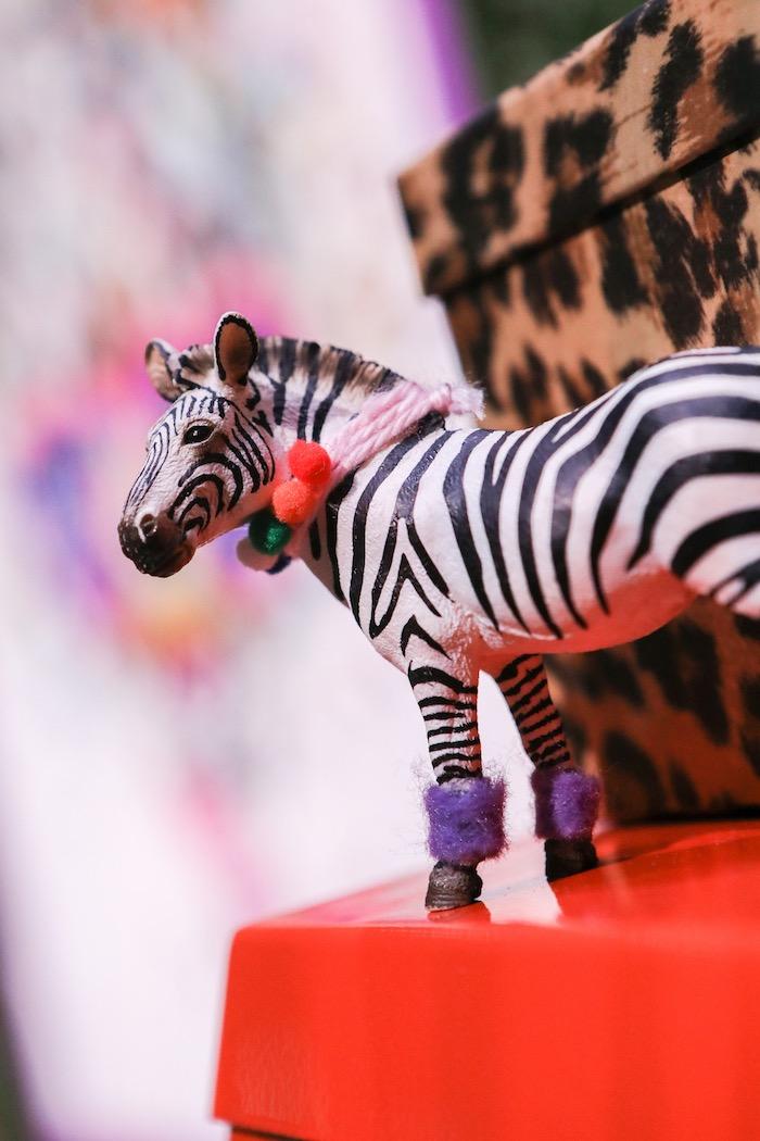 "Zebra figurine from a ""Young, Wild & Three"" Animal Birthday Party on Kara's Party Ideas | KarasPartyIdeas.com (7)"