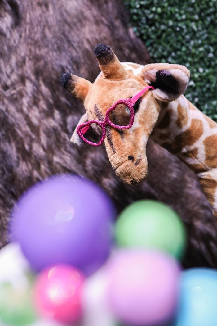 "Plush giraffe from a ""Young, Wild & Three"" Animal Birthday Party on Kara's Party Ideas   KarasPartyIdeas.com (31)"
