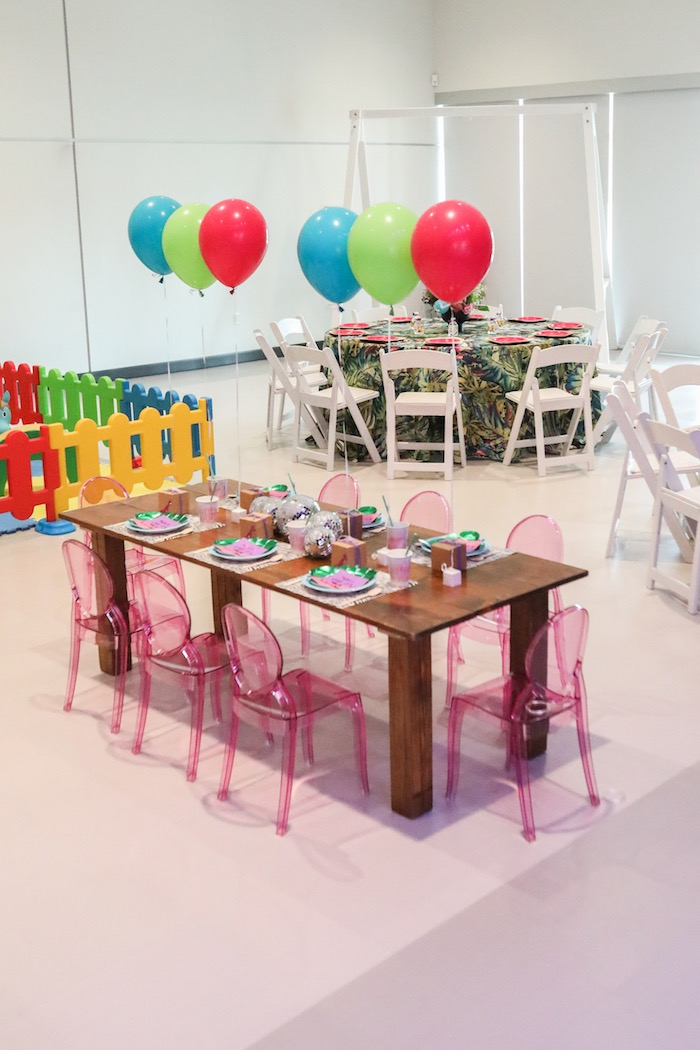 "Kid table from a ""Young, Wild & Three"" Animal Birthday Party on Kara's Party Ideas 