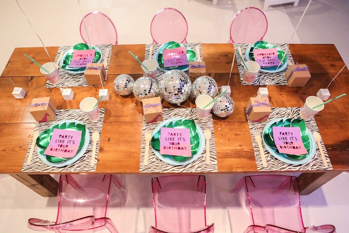 """Guest table top from a """"Young, Wild & Three"""" Animal Birthday Party on Kara's Party Ideas 