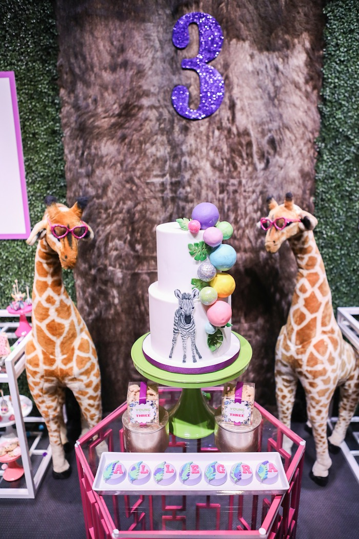 """Cakescape from a """"Young, Wild & Three"""" Animal Birthday Party on Kara's Party Ideas 