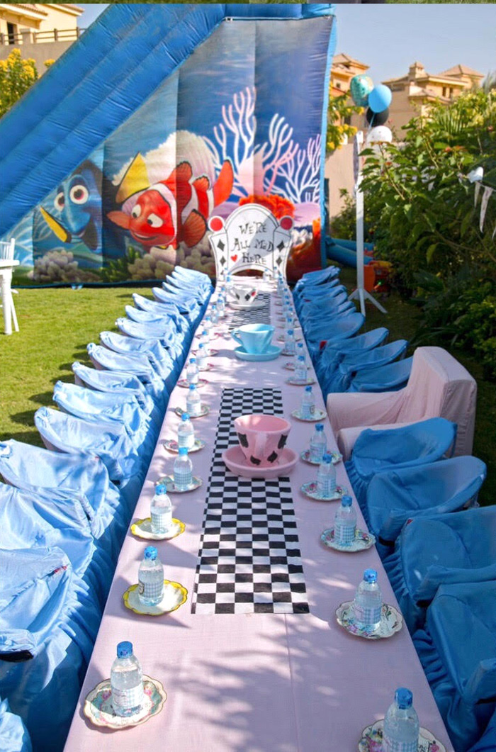 Alice in Wonderland Guest Table from an Alice in Wonderland Birthday Party on Kara's Party Ideas | KarasPartyIdeas.com (2)