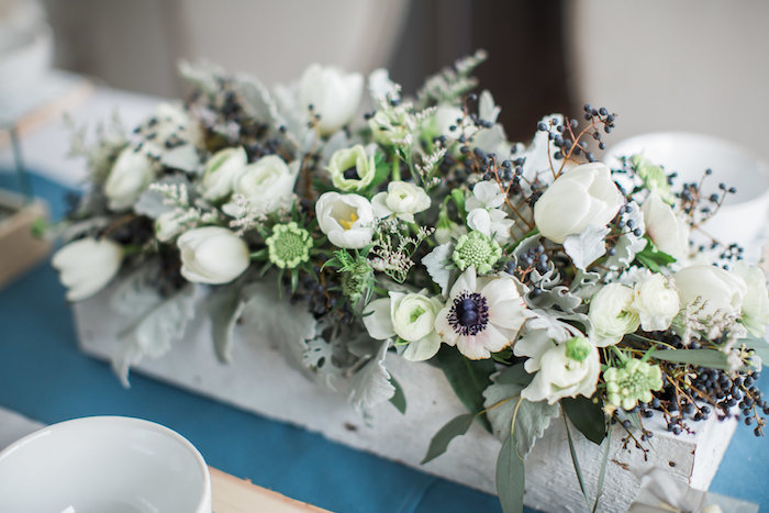White floral arrangement from an Arctic One-derland Birthday Party on Kara's Party Ideas | KarasPartyIdeas.com (17)