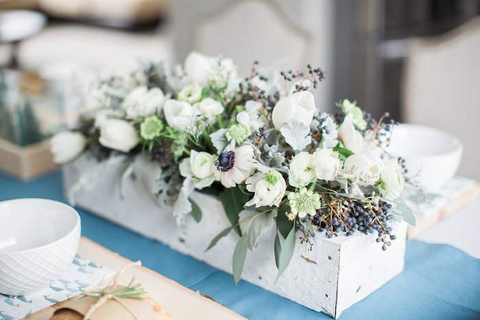 White floral arrangement from an Arctic One-derland Birthday Party on Kara's Party Ideas | KarasPartyIdeas.com (16)