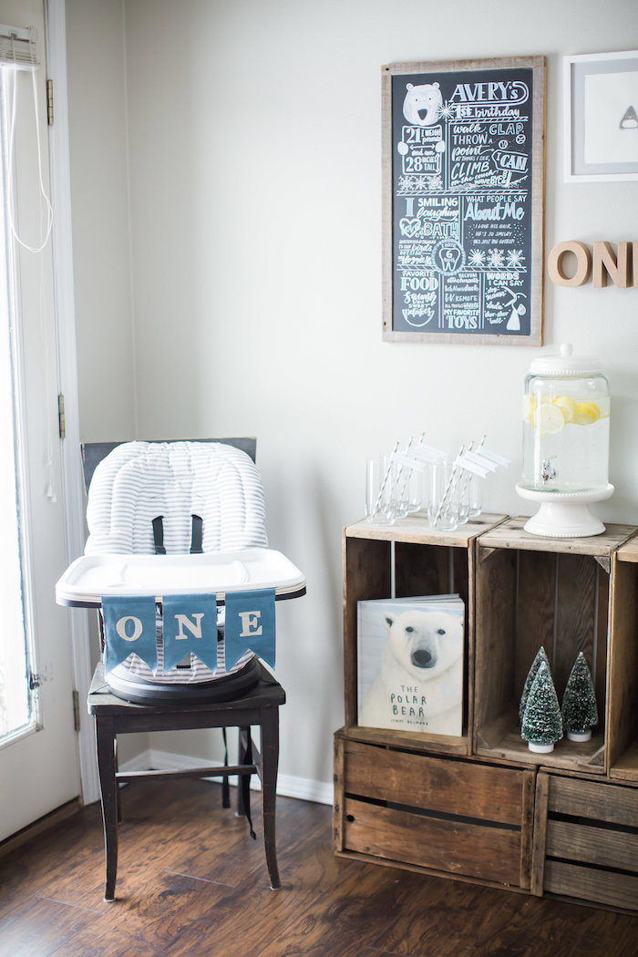 High chair corner from an Arctic One-derland Birthday Party on Kara's Party Ideas | KarasPartyIdeas.com (11)