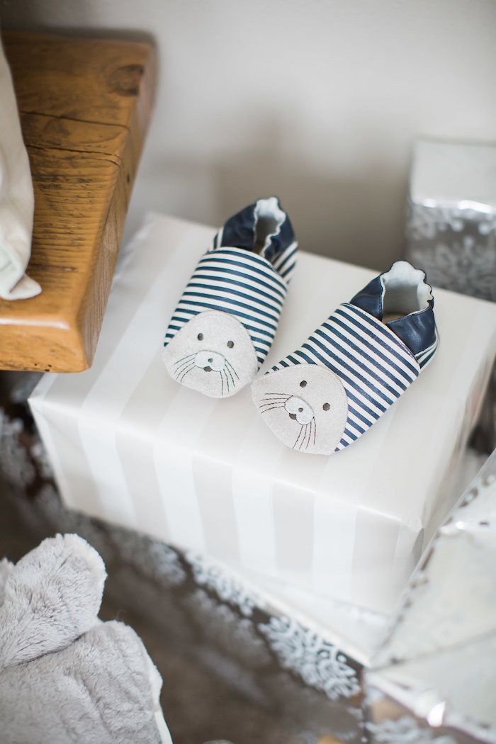 Seal moccasins from an Arctic One-derland Birthday Party on Kara's Party Ideas | KarasPartyIdeas.com (34)