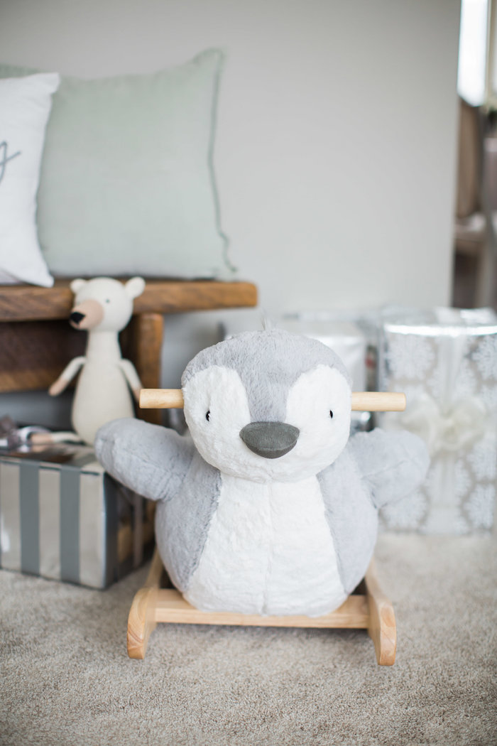 Plush penguin rocker from an Arctic One-derland Birthday Party on Kara's Party Ideas | KarasPartyIdeas.com (33)