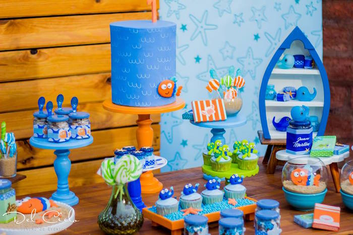 Dessert table from a Baby Sea Animal Birthday Party on Kara's Party Ideas | KarasPartyIdeas.com (14)