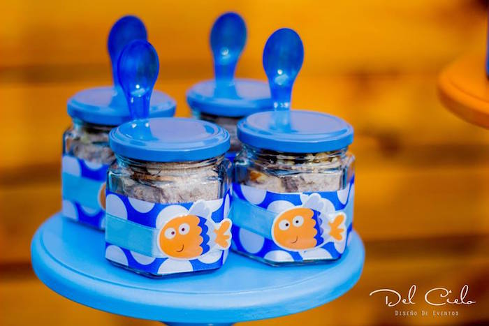 Fish-labeled mini dessert jars from a Baby Sea Animal Birthday Party on Kara's Party Ideas | KarasPartyIdeas.com (12)