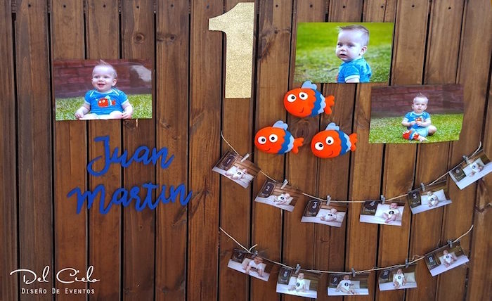 First year photo banner + wall from a Baby Sea Animal Birthday Party on Kara's Party Ideas | KarasPartyIdeas.com (10)