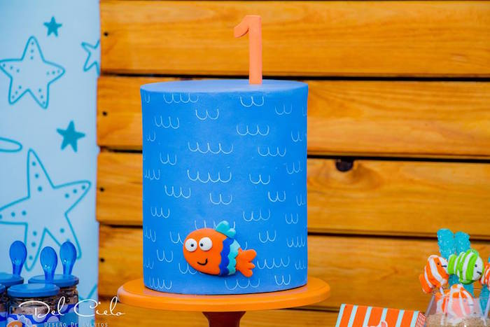 Under the Sea Cake from a Baby Sea Animal Birthday Party on Kara's Party Ideas | KarasPartyIdeas.com (7)