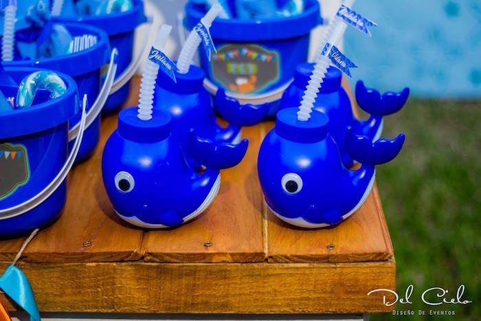 Whale Sippy Cups from a Baby Sea Animal Birthday Party on Kara's Party Ideas | KarasPartyIdeas.com (6)