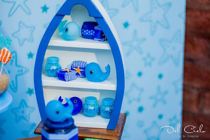 Boat dessert shelf from a Baby Sea Animal Birthday Party on Kara's Party Ideas | KarasPartyIdeas.com (20)