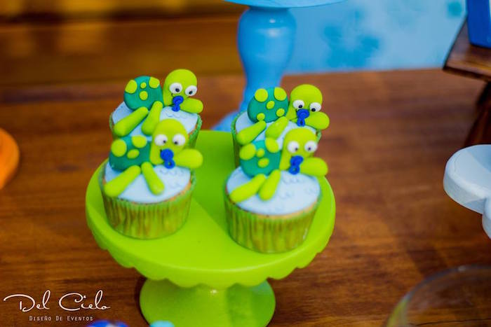 Baby turtle cupcakes from a Baby Sea Animal Birthday Party on Kara's Party Ideas | KarasPartyIdeas.com (18)