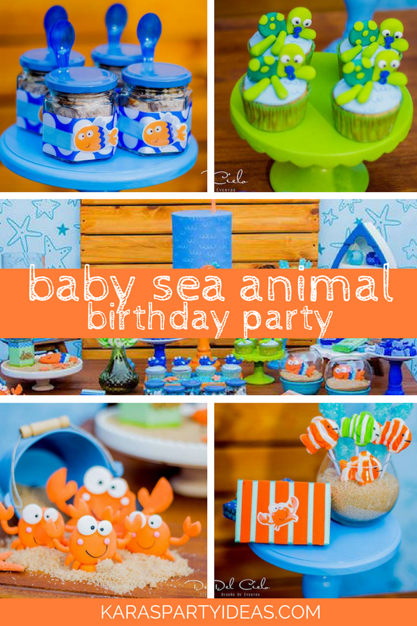 Baby Sea Animal Birthdy Party via Kara's Party Ideas - KarasPartyIdeas.com
