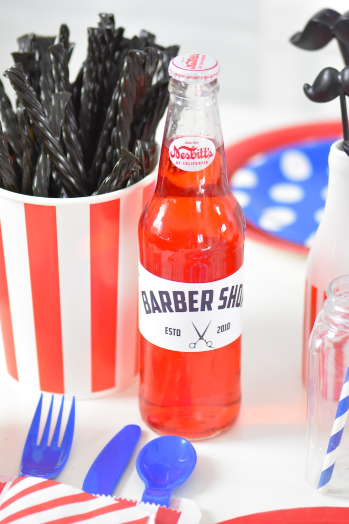 Free Printable Barber Shop Birthday Party Drink Wrappers via Kara's Party Ideas