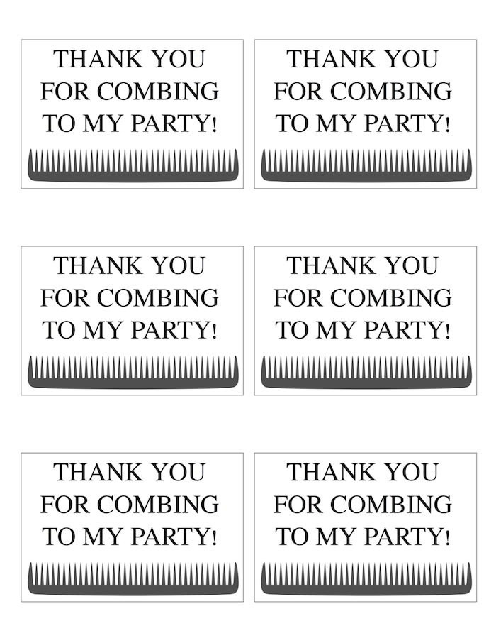 FREE Printable Thank You For Combing to my Party Tags