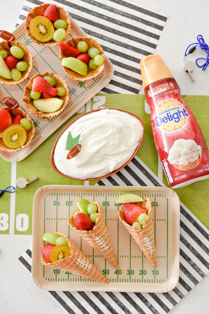THE Best Big Game Creamy Fruit Dip Recipe + Football Ice Cream Cones