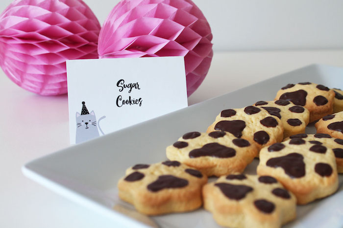 Paw Print Sugar Cookies from a Cat Birthday Party on Kara's Party Ideas | KarasPartyIdeas.com (13)