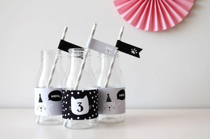 Kitty-cat milk bottles from a Cat Birthday Party on Kara's Party Ideas | KarasPartyIdeas.com (10)