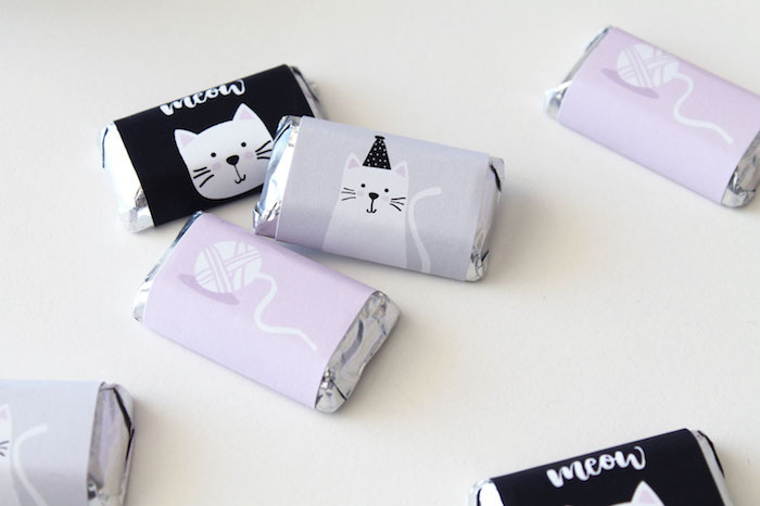 Mini cat candy bar labels from a Cat Birthday Party on Kara's Party Ideas | KarasPartyIdeas.com (9)