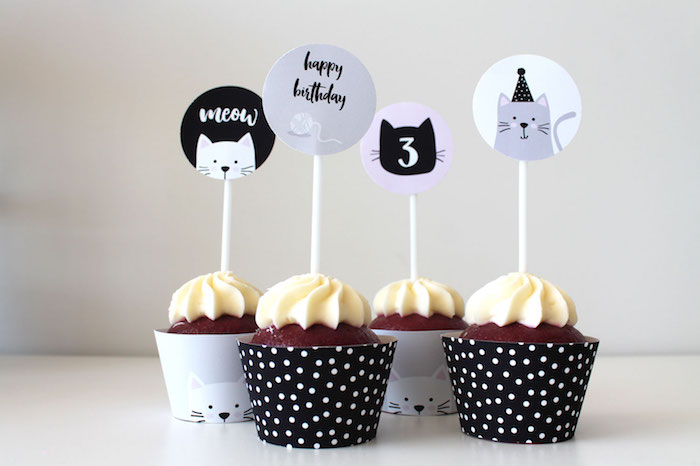 Cat Cupcake Toppers from a Cat Birthday Party on Kara's Party Ideas | KarasPartyIdeas.com (8)